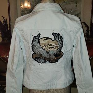 Harley said white jean jacket